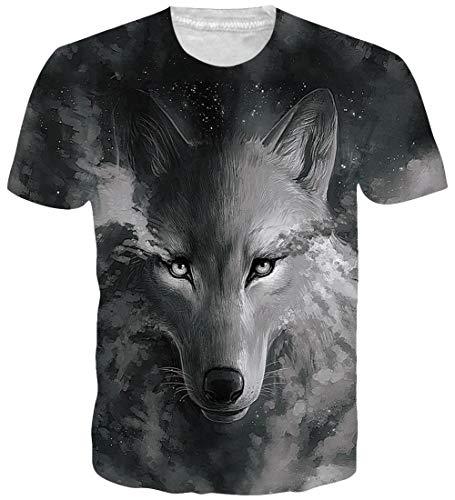 9800b13354 Loveternal Galaxy Wolf T-Shirts Men Patrón 3D Impreso Casual Tops Camisetas  de Manga Corta