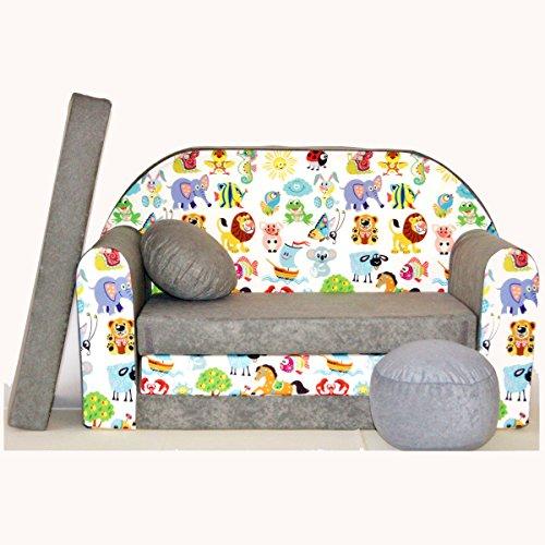 Minicouch Kindersofa Babysofa Sofa Set Sitzkissen Matratze weiche Velours verschiedene Farben (A5 grau Tiere)