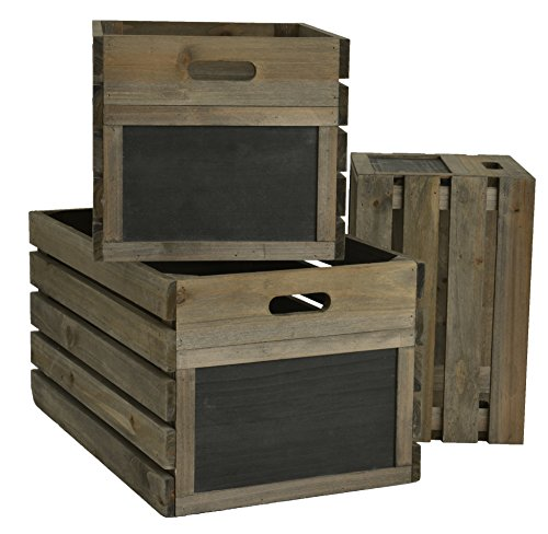 Green Jem Kisten aus rustikalem Holz, Kastanien Braun, 46x 29x 24cm (Lackierte Aufbewahrungsbox)