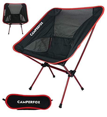 CamperFox Campingstuhl faltbar mit Tragetasche - Outdoor Stuhl klappbar - 110kg - leicht - kompakt - robust - Angelstuhl - Klappstuhl - Faltstuhl - Gartenstuhl - Reisen - Festivals - Strand (rot)