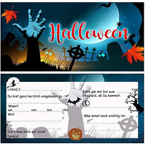 Einladungskarten zu Halloween zur Halloweenparty 12 Stück Einladung Einladungen Karten Set Sarg Gruselparty Erwachsene Kinder
