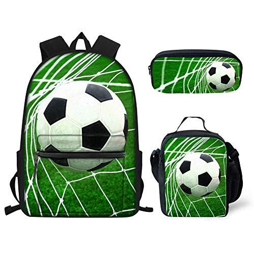 Hugs Idea Rucksack für Jungen, mit Dinosaurier-Motiv, isolierte Lunch-Taschen und Federmäppchen, 3-in-1 Grün fußball Einheitsgröße Gourmet-rucksack