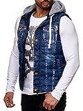 Redbridge Herren Jeans Look Weste abnehmbare Kapuze Stepp Jacke ärmellos gefüttert Denim M41463 (Blau, L)