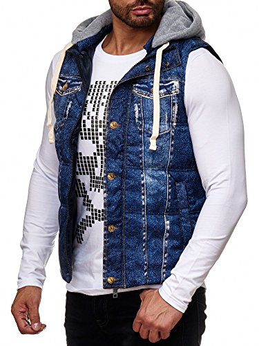 Redbridge Herren Jeans Look Weste Abnehmbare Kapuze Stepp Jacke ärmellos gefüttert Denim M41463 (Blau, XL)