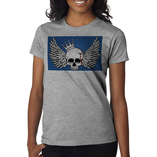 Skull With Wings Blue Back Background Damen T-Shirt Grau