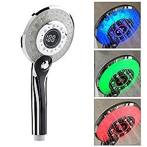 Cabezal De Ducha LED Cuarto De Baño De Mano Control De Temperatura De 3 Colores Cambio De Color Ducha De Mano Con…