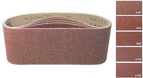 50 Stück Gewebe-Schleifbänder gemischt 75 x 533, für Bandschleifer - 5 Körnungen jeweils 10 x K40/60/80/120/180/Schleifpapier/Schleif-Mix/Schleifbänder