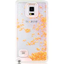 Funda para Samsung Galaxy Note 4, Case Cover para Samsung Galaxy Note 4, ISAKEN Best Selling Transparente Fluido Amor Corazon Bling Claro Lentejuelas Del Brillo Plástico Líquido Trasera Protección Case Cover Carcasa Funda para Samsung Galaxy Note 4 (Amor Naranja)