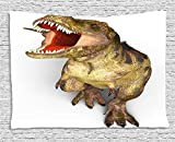 TRUIOKO Dinosaur Tapestry, Image of Roaring Rex Realistic Historical Animal with Sharp Teeth, Wall Hanging for Bedroom Living Room Dorm Wall Tapestry Decor, 80 W X 60 L Inches, Army Green Scarlet Tan