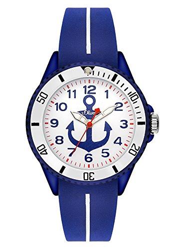 s.Oliver Unisex Kinder Analog Quarz Uhr mit Silikon Armband SO-3500-PQ