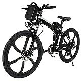 Teamyy Bicicleta Plegable de Montaña con Batería de Iones de Litio Bicicleta Eléctrica de 26 Pulgadas y 27 Velocidad