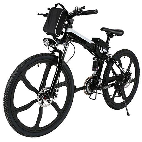 aceshin bicicletta adulti 26pollici 172 x 106cm nero bianco bicicletta montagna 500W
