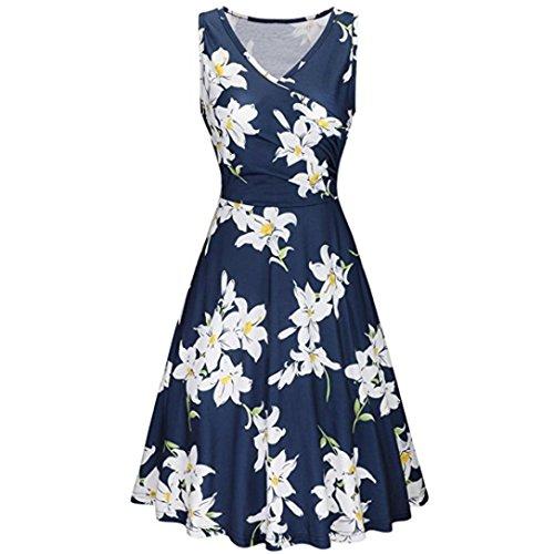 ITISME 2019 Sommer Damen Ärmelloses Beiläufiges Strandkleid Sommerkleid High Waist Lang Kleid Partykleid
