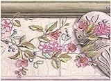 Rosa Blumen auf Vine über Herzen Vintage Tapete Bordüre Retro Design, Rolle 15'x 15,2cm