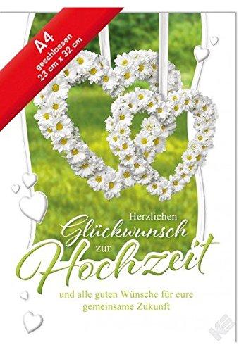 rzlichen Glückwunsch zur Hochzeit,A4 Karte incl.Kuvert ()
