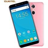 Telefonos Moviles, OUKITEL C8 - 5,5 pulgadas (18: 9 Relación Visión Completa) Android 7.0 3G Smartphone Libre, 3000mAh Batería, 1,3GHz Quad Core 2 GB RAM de 16 GB ROM, Cámara de 5MP + 13MP, Huella Digital GPS Dual SIM - Fucsia