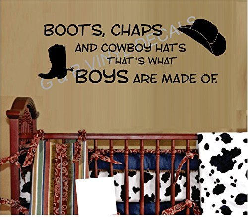 Boots Chaps and Cowboy Hats Thats What Boys Are Made of Vinyl Wall Decal Sticker Kids Room by G & B Vinyl Decals Kid Cowboy-chaps