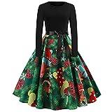 Weihnachten Partykleider Damen Elegant,Riou Weihnachtskleid Langarm Knielang Retro A Linie Abendkleid Cocktailkleid Swing Kleid (2XL, Grün)