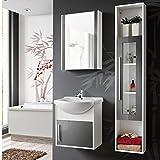 Badmöbel 4 tlg Set 'Joe 50' Badezimmerschrank Waschbecken 50cm Modern Weiß Grau