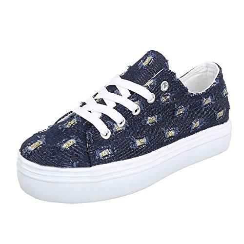 Damen Schuhe Sneakers Low-Top Schnürsenkel Low-Top Sneaker Freizeitschuhe Blau
