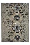 One Couture Teppiche Handgewebt Wollteppich 100% Baumwolle Azteken Muster Maya Beige, Größe:80cm x 150cm