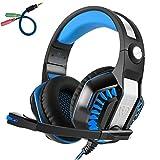 Beexcellent GM-2 Pro Gaming Over-Ear con micrófono, luces LED y control de volumen Cancelación de ruido de graves estéreo, para PS4 Xbox One, ordenador portátil, PC, Tablet (azul)