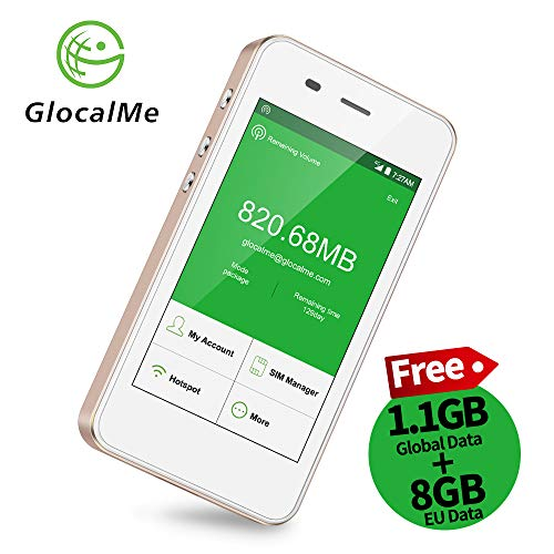 GlocalMe 4G Mobiler Hotspot mobiles WLAN mit Powerbankfunktion, SIMlock-frei ohne Roaminggebühren in über 100 Ländern mit 1 GB anfänglichen globalen Daten (G3-Gold) Usa Mobile