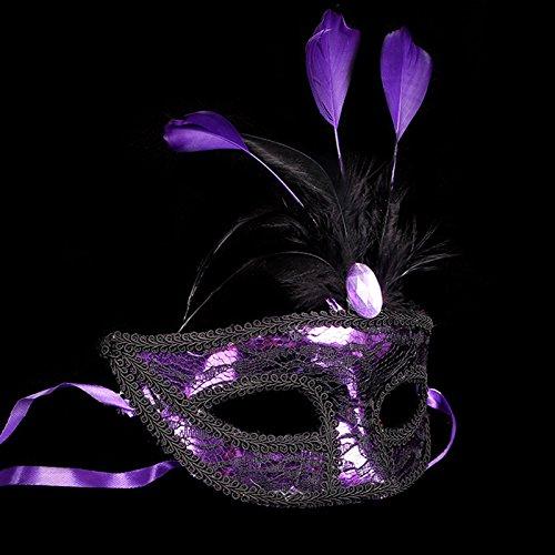 CAOLATOR Lace Maskerade Maske Prinzessin Maske Weiblich Spitze Karneval Venezianische Maske Damenmaske Halbmaske Lila