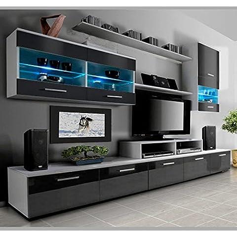 Muebles Bonitos – Mueble de salón Claudia modelo 7 Blanco y Negro (2,5m)