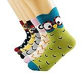 Oneworld Damen Frauen Mädchen 6 Paar/Halb Dozen lieblich Classic Casual Socken Damensocken Sportsocken Strumpf Cartoon Eule, 6159-6 Paar-farbmix1, 35/40
