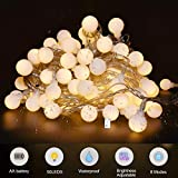 LED String Lights 5M 50 LEDs, Led Fairy Lights Globe String Lights,Waterproof 8 Lighting Modes, Battery Powered with Remote Control for Parties, Garden, Home,Wedding, Bedroom, Warm Whiterden, Home,Wedding, Bedroom, Warm White
