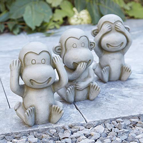 Terrakotta Gartenfigur: Lustiger AFFE - Höhe 25cm - Three Wise Monkeys - Dekofigur für Außen - Statue/Skulptur - Garten Dekoration/Deko AFFE/Affenfigur (Nichts Sagen - 1 Stück)