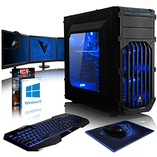 VIBOX Killstreak GLR7TX-432 Gaming PC Computer mit Spiel Bundle, Windows 10 OS, 3x Triple 22 Zoll HD Monitor (4,0GHz Threadripper 8-Core, GeForce GTX 1080 Ti, 32Go DDR4 RAM, 480GB SSD, 2TB HDD)