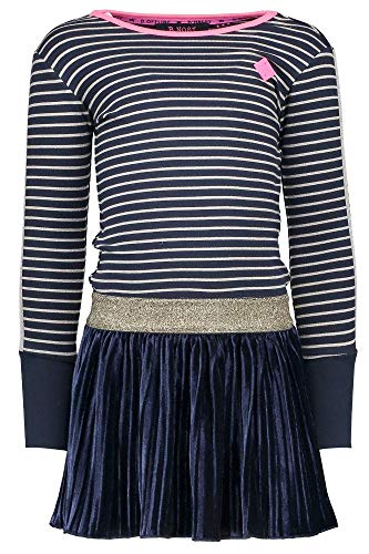 B.Nosy Teens Mädchen Girl Kleid langarm stripe 8x3 peacock 5824-923 (110/116)