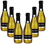 Scavi & Ray Secco Frizzante Piccolo 0,2l (10,5% Vol) Bling Bling Glitzerflasche in gold Aktion - 6 Stück (6x 0,2l = 1,2L) -[Enthält Sulfite]