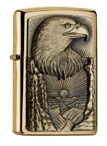 Zippo PL Eagle Grand Canyon Brass Feuerzeug, Messing, Edelstahloptik, 1 x 3,5 x 5,5 cm
