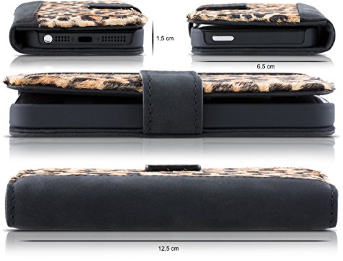 Blumax Apple iPhone 5/5s/SE Ultra-Slim Echtleder Flip-Case im Vintage-Look Schwarz Leopard