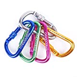 TITECOUGO Five colors Aluminum Alloy D-Ring High Strength Carabiner Key Chain Clip Hook For Camping Hiking (Not for Climbing)