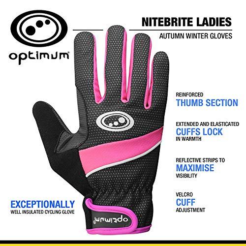 OPTIMUM Optimale Damen Winter Handschuh, Damen, Nitebrite, schwarz/rosa