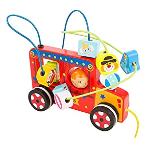 ColorBaby Play&Learn Cochecito de arrastre, circo de madera Multicolor (46209)