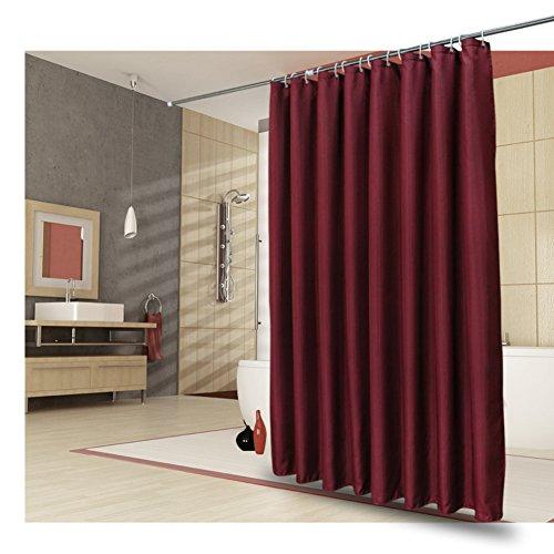J&DUS Polyester Dusche Vorhang Wein Rot,Datenschutz Schweres Gewicht Frei von schimmel und Wasserdichte Kontrollen Muster Hotel Bad vorhänge mit Haken für duschkabine-Burgund 200x240cm(79x94inch) -