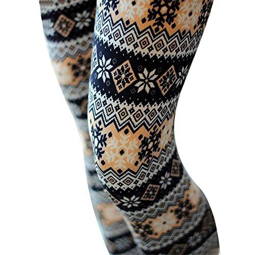 wlgreatsp Donne Natale stampato Pantaloni slim Allenamento Leggings Opaco Yoga Fitness Palestra Pantaloni Sportivi Donne Fiocco di neve giallo
