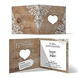 30 x Lasergeschnittene Hochzeitseinladungen goldene Hochzeit Goldhochzeit Einladungen individuell - Rustikal mit weißer Spitze