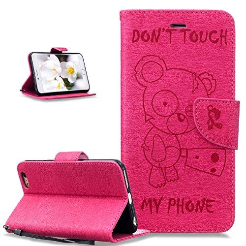 Coque iPhone 6S Plus,Coque iPhone 6 Plus,Coque iPhone 6S Plus / 6 Plus,ikasus® Coque iPhone 6S Plus / 6 Plus Bookstyle Étui Housse en Cuir Case, Motif Gaufrage Tronçonneuse ours Don't Touch Py Phone M Rose vif