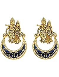 Royal Bling Fancy Party Wear Gold Plated Radha Krishna Earrings For Women And Girls