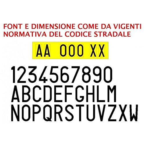 Kit 7 lettere numeri adesivi per targa ripetitrice rimorchio carrello auto moto