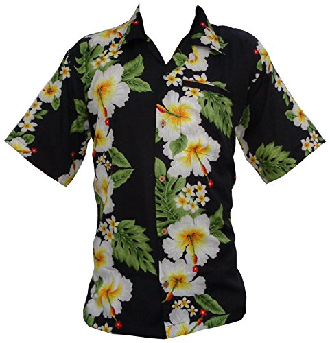 hawaii-hemd-der-mnner-hibiskus-mit-blumenmuster-beach-camp-party-schwarz-4xl