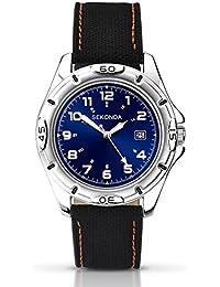 SEKONDA 1127 - Reloj de cuarzo para hombres, correa de fijación, color negro