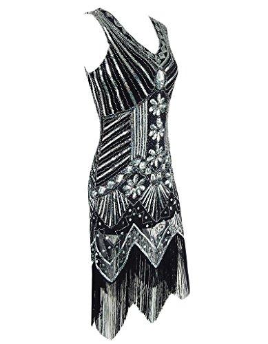 OOFIT Damen 1920er Gatsby Pailletten Kleider, V-Ausschnitt Perlen Franse Flapper Charleston Kleid, Schwarz, Gr.L(EU40) - 2