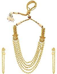 Sri Shringarr Fashion Traditional Micro Gold Polished Semi Precious Polki/Kundan & Gold Beads Necklace Set For...